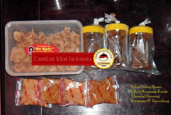 Paket Udang Besar (Udang kemasan box besar + 3 Sambal Bawang + Kremesan)  khas Bu Rudy CamilanCamlun.com Camilan Khas Indonesia